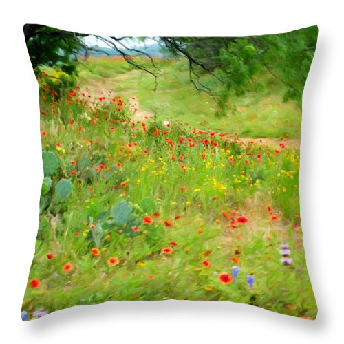 Texas Wildflowers Throw Pillow featuring the photograph Texas Wildflowers And Cactus - Country Road by Rebecca Korpita