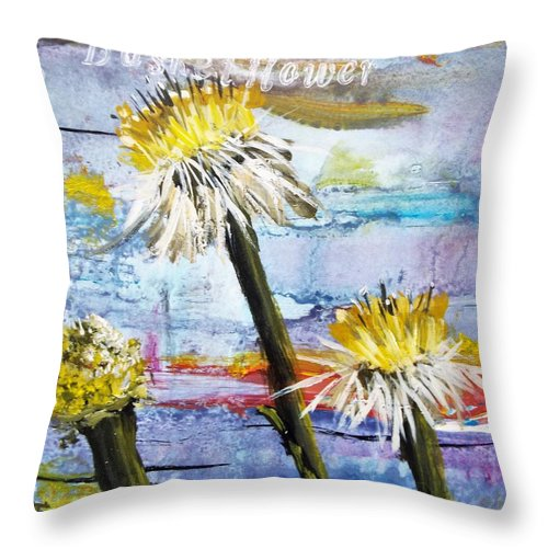 Series Throw Pillow featuring the painting Texas Wildflowers Tp A E by Michael Dillon