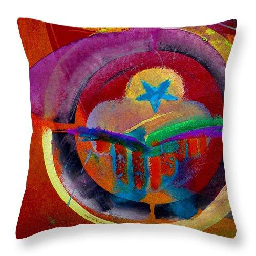 Button Throw Pillow featuring the painting Texicana by Charles Stuart