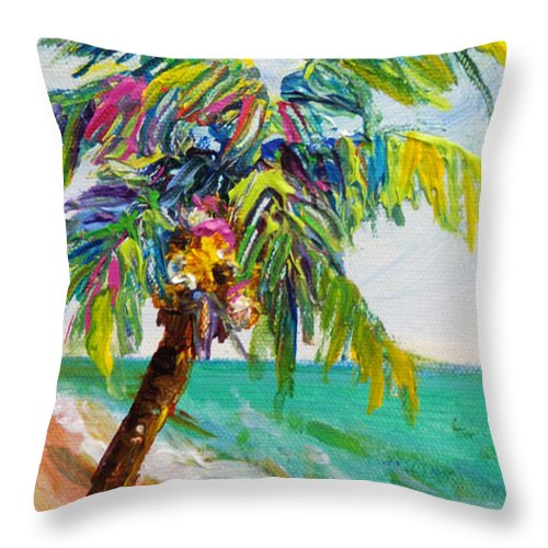 Beach Throw Pillow featuring the painting Texture Palm by Anne Marie Brown