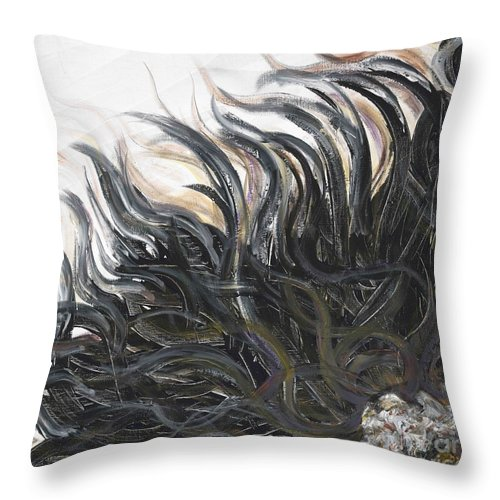 Texture Throw Pillow featuring the painting Textured Black Sunflower by Nadine Rippelmeyer