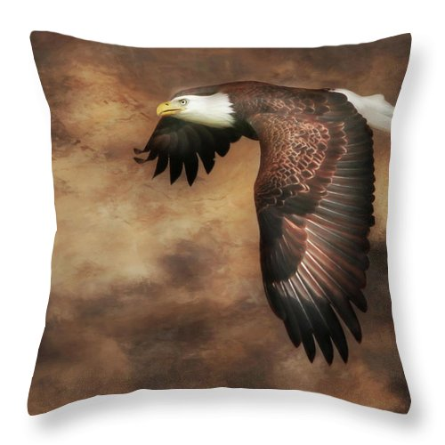 Eagle Throw Pillow featuring the photograph Textured Eagle 2 by Lori Deiter