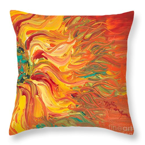 Sunjflower Throw Pillow featuring the painting Textured Fire Sunflower by Nadine Rippelmeyer