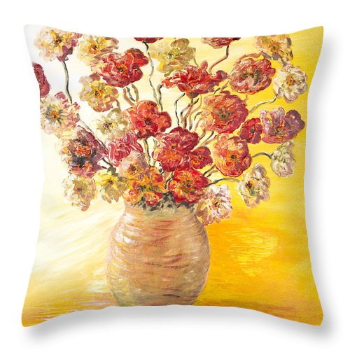 Flowers Throw Pillow featuring the painting Textured Flowers In A Vase by Nadine Rippelmeyer