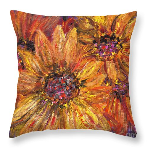 Yellow Throw Pillow featuring the painting Textured Gold and Red Sunflowers by Nadine Rippelmeyer