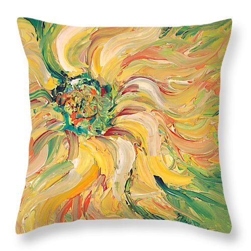 Texture Throw Pillow featuring the painting Textured Green Sunflower by Nadine Rippelmeyer