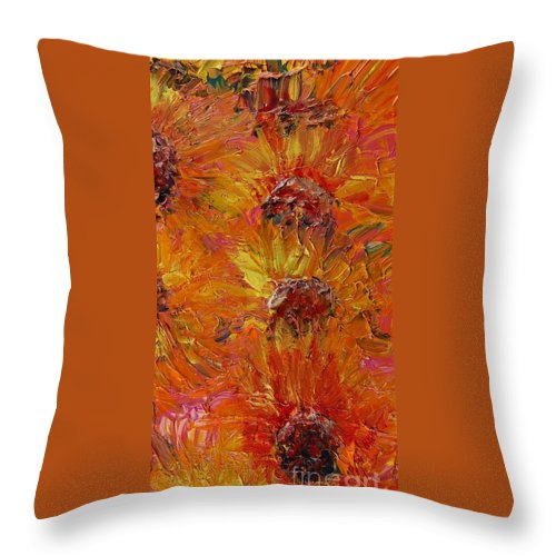 Sunflowers Throw Pillow featuring the painting Textured Sunflowers by Nadine Rippelmeyer