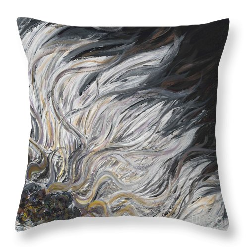 White Throw Pillow featuring the painting Textured White Sunflower by Nadine Rippelmeyer