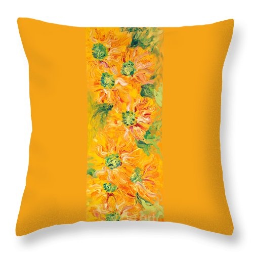 Yellow Throw Pillow featuring the painting Textured Yellow Sunflowers by Nadine Rippelmeyer