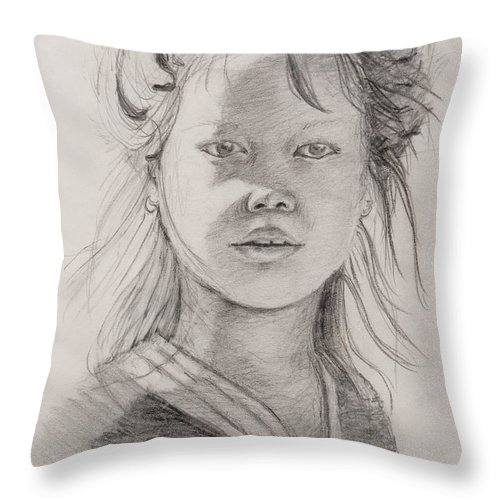 Portrait Throw Pillow featuring the drawing Thai Beauty by Nadine Rippelmeyer