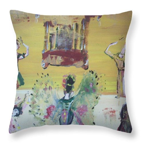 Thai Throw Pillow featuring the painting Thai Butterfly Dance by Judith Desrosiers