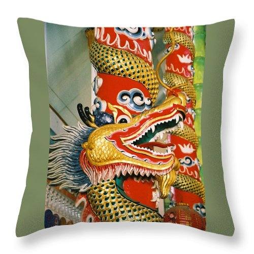 Animal Throw Pillow featuring the photograph Thai Dragon by Mary Rogers
