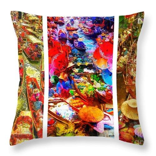 Thai Market Triptych Throw Pillow featuring the painting Thai Market Triptych by Mo T
