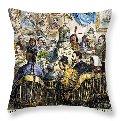 1869 Throw Pillow featuring the photograph Thanksgiving Cartoon, 1869 by Granger