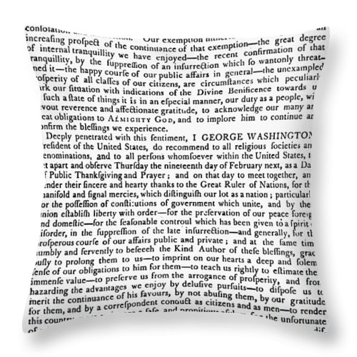 1795 Throw Pillow featuring the photograph Thanksgiving Proclamation by Granger