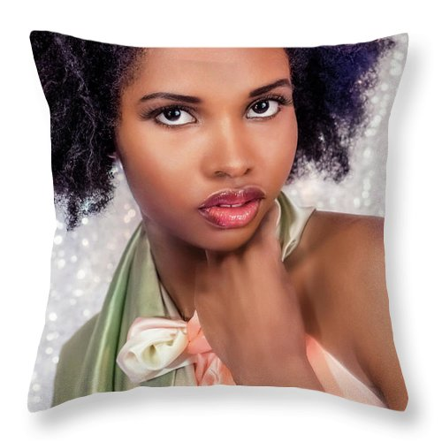 Girl Throw Pillow featuring the photograph That Look 2 by Lilia D