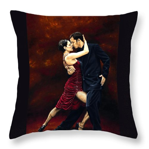 Tango Throw Pillow featuring the painting That Tango Moment by Richard Young