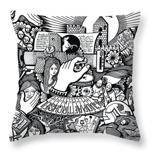 Drawing Throw Pillow featuring the drawing That We Die Is What Living Means by Jose Alberto Gomes Pereira