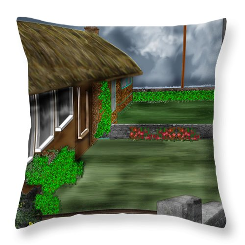 Cottages Throw Pillow featuring the painting Thatched Roof Cottages In Ireland by Anne Norskog