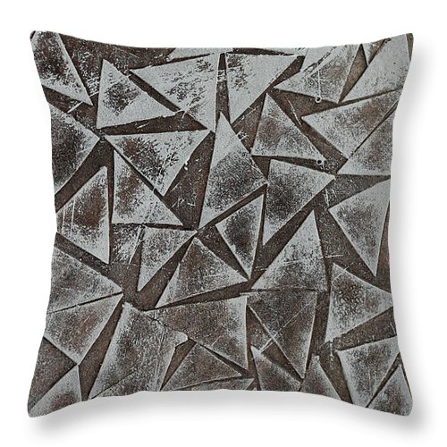 Landscape Brown Abstract Conceptual Throw Pillow featuring the painting Thaw 26 by Jorge Berlato