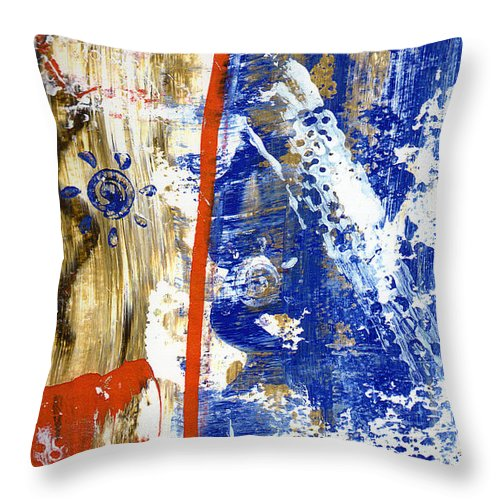 Abstract Throw Pillow featuring the painting The 4th by Wayne Potrafka
