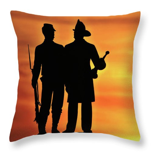 Civil War Throw Pillow featuring the photograph The 73rd New York by Jen Goellnitz