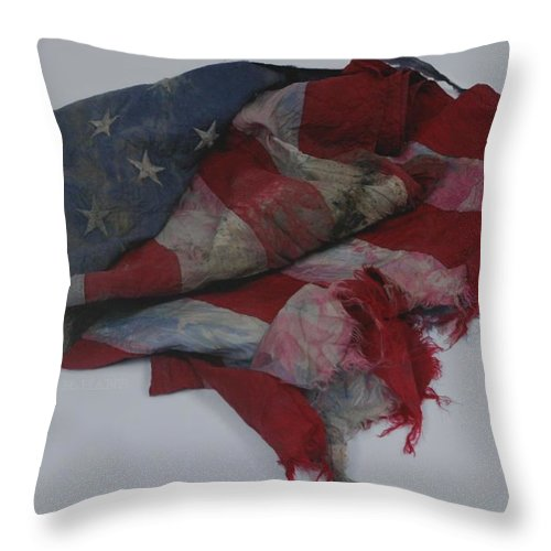 911 Throw Pillow featuring the photograph The 9 11 W T C Fallen Heros American Flag by Rob Hans