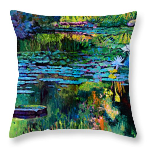 Water Lilies Throw Pillow featuring the painting The Abstraction of Beauty one and two by John Lautermilch