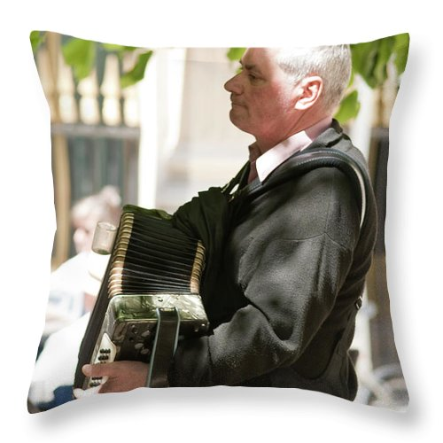 Paris Throw Pillow featuring the photograph The Accordionist by Sam Gish