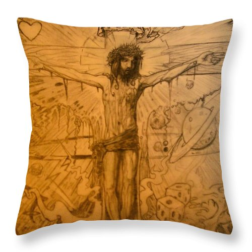 Jesus Throw Pillow featuring the drawing The Ace Of Hearts by Will Le Beouf