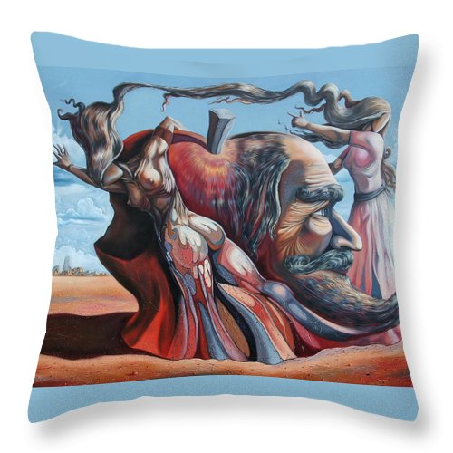 Surrealism Throw Pillow featuring the painting The Adam-eve Delusion by Darwin Leon