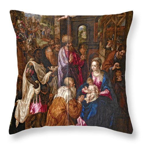 Hendrick De Clerck Throw Pillow featuring the painting The Adoration Of The Magi by Hendrick de Clerck