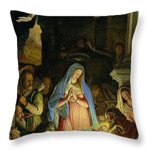 Christmas Throw Pillow featuring the painting The Adoration Of The Shepherds by Federico Zuccaro