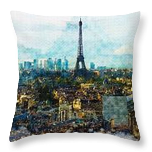 Art & Collectibles Throw Pillow featuring the digital art The Aesthetic Beauty Of Paris Tranquil Landscape by Don Kuing