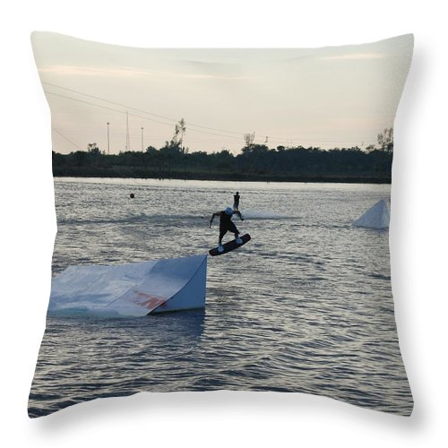 Water Throw Pillow featuring the photograph The After Jump by Rob Hans