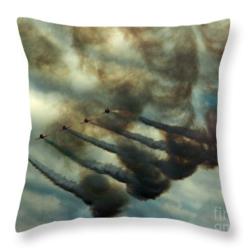 Red Arrows Throw Pillow featuring the photograph The Air Pollutors by Angel Ciesniarska