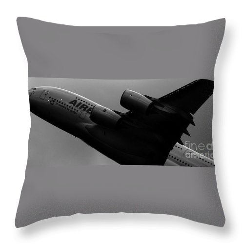 Airbus Throw Pillow featuring the photograph The Airbus A380 by Angel Ciesniarska