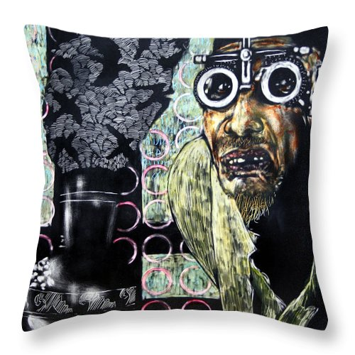 Scratchboard Throw Pillow featuring the mixed media The Alchemist by Chester Elmore