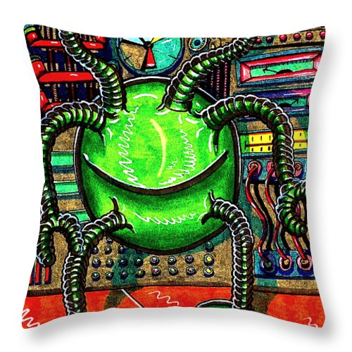 Throw Pillow featuring the drawing The Alien by Al Goldfarb