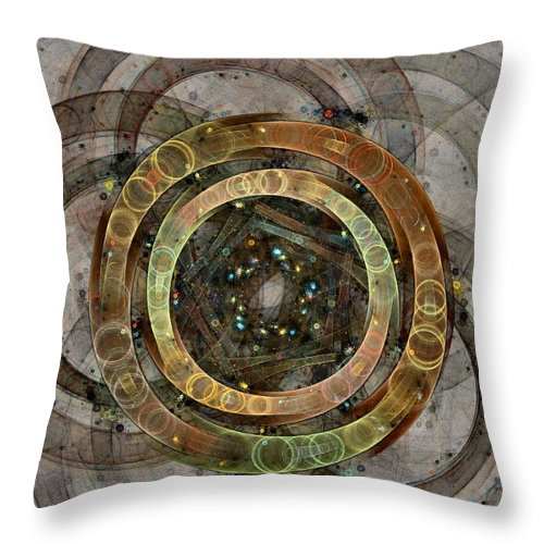 Circles Throw Pillow featuring the digital art The Almagest - Homage To Ptolemy - Fractal Art by NirvanaBlues