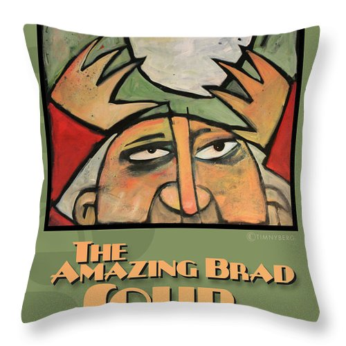 Soup Throw Pillow featuring the painting The Amazing Brad Soup Juggler Poster by Tim Nyberg