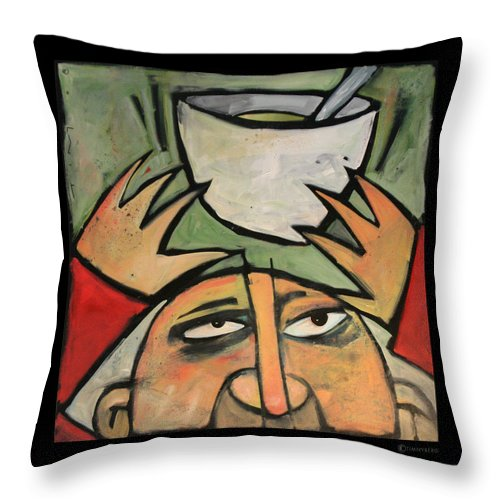 Humor Throw Pillow featuring the painting The Amazing Brad Soup Juggler by Tim Nyberg
