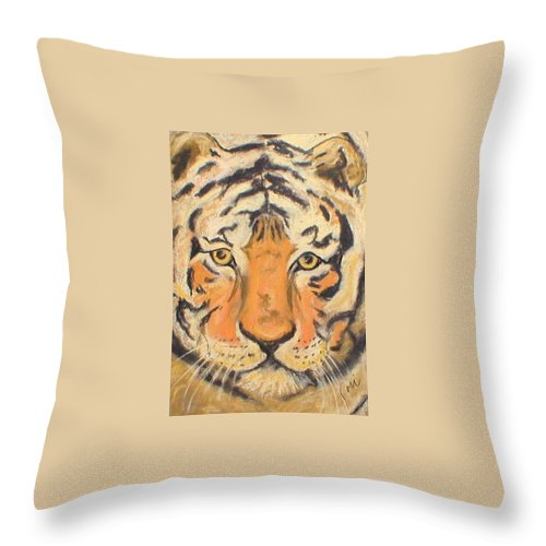 Pastel Throw Pillow featuring the drawing The Amber Stare by Cori Solomon