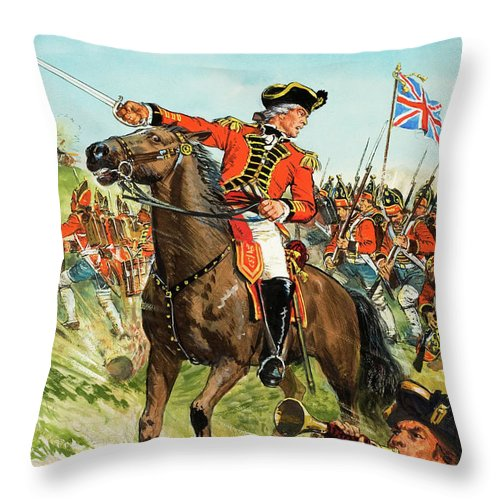 Burgoyne Throw Pillow featuring the painting The American Revolutionary War General John Burgoyne by CL Doughty