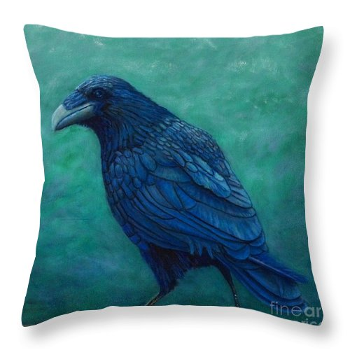 Raven Throw Pillow featuring the painting The Ancient One by Brian Commerford