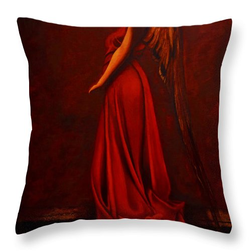 Giorgio Throw Pillow featuring the painting The Angel Of Love by Giorgio Tuscani
