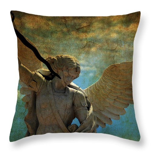 Angel Throw Pillow featuring the photograph The Angel Of The Last Days by Susanne Van Hulst