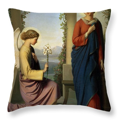 Lily; Angel; Loggia; Spinning; Spindle; School Of Ingres Throw Pillow featuring the painting The Angelic Salutation by Eugene Emmanuel Amaury-Duval