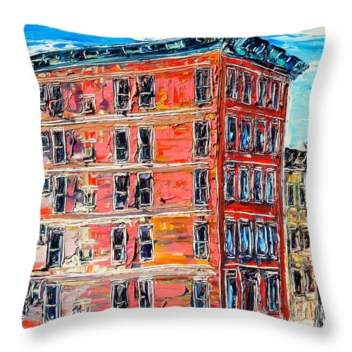 Cityscape Throw Pillow featuring the painting The Apartment Building by J E T I I I