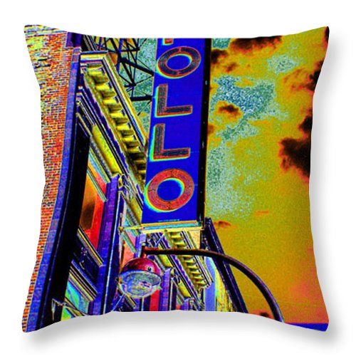Harlem Throw Pillow featuring the photograph The Apollo by Steven Huszar